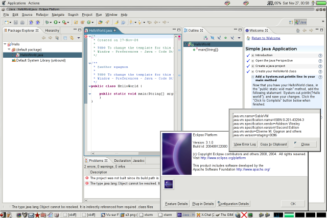 SableVM running Eclipse 3 on the Debian PowerPC platform